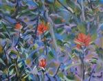 indian paintbrushes on blue