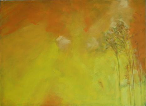 "poplars and fire sky c 36x28"""
